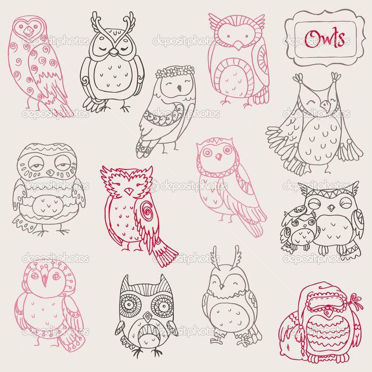 Различные коллекции каракули сова - рисованной - в векторе — Стоковая иллюстрация #10503190