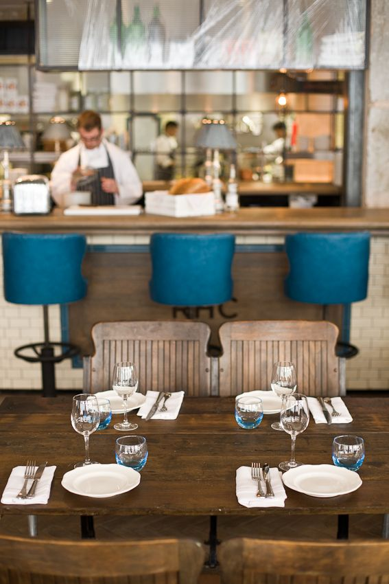 love the pop of blue in a neutral scheme // the riding house cafe // london