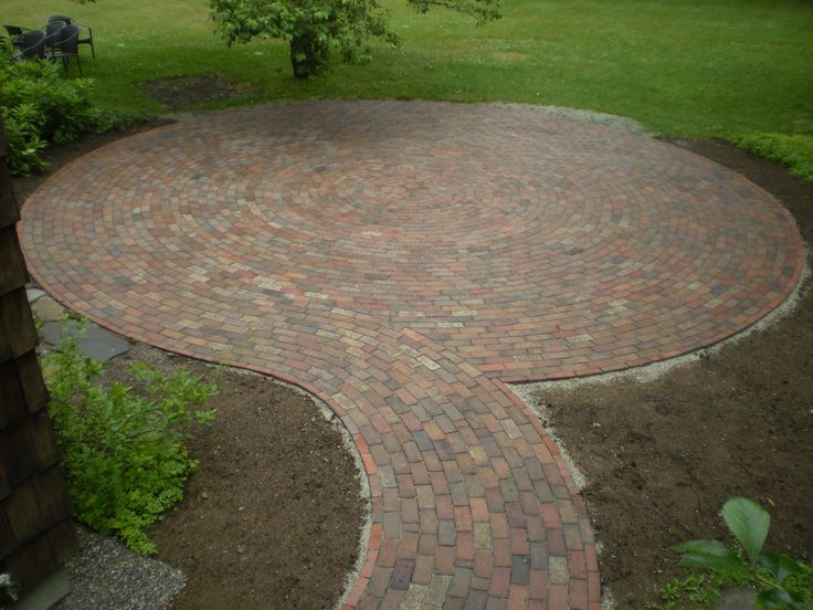 find this pin and more on ideas for the house round brick stone patio - Brick Stone Patio Designs