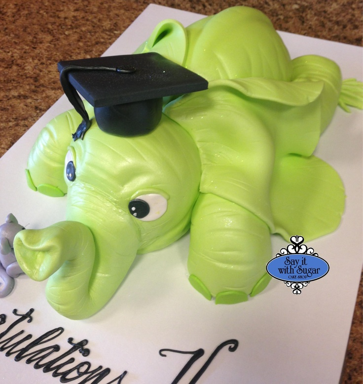Elephant shaped graduation cake | cakes and cookies ...