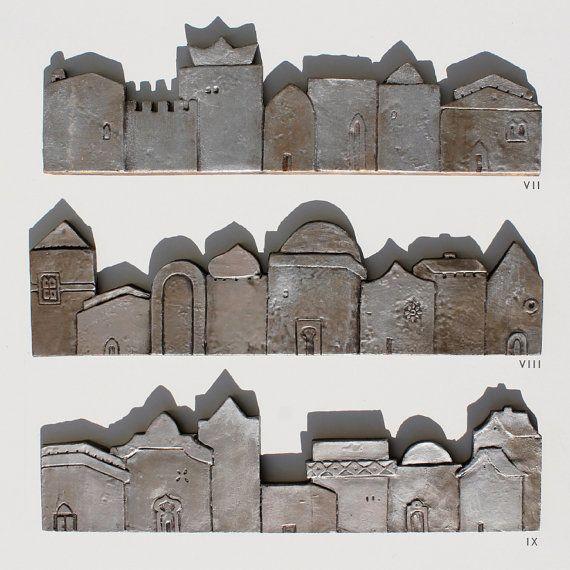tile wall art miniature houses home decor textured tile by GVEGA