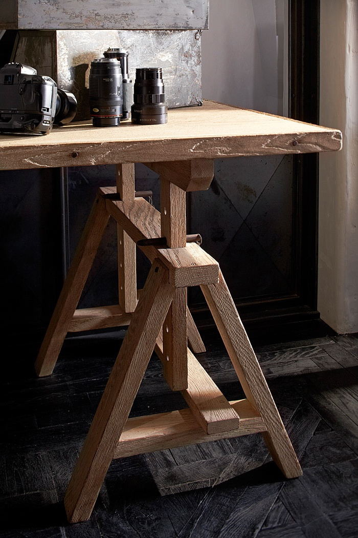 St. Germain Sawbuck Desk:19th century inspired trestle desk with adjustable sawbuck bases and worn oak surface