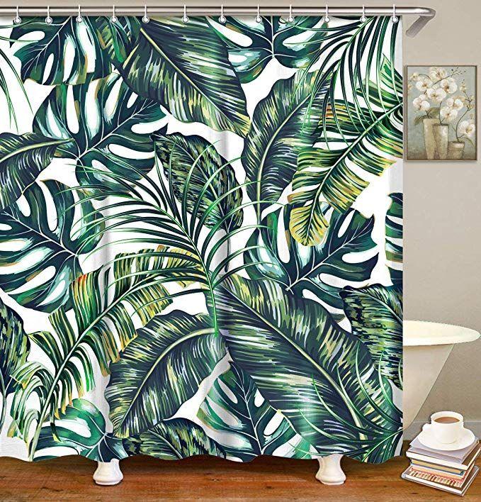 Amazon Com Livilan Leaf Shower Curtain Set With 12 Hooks Tropical