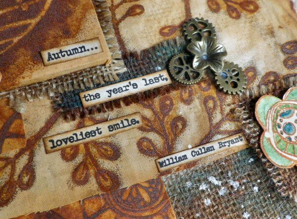 PaperArtsy: 2017 #16 Rust: Rusty Burlap Panel with EKD {by Sue Carrington}