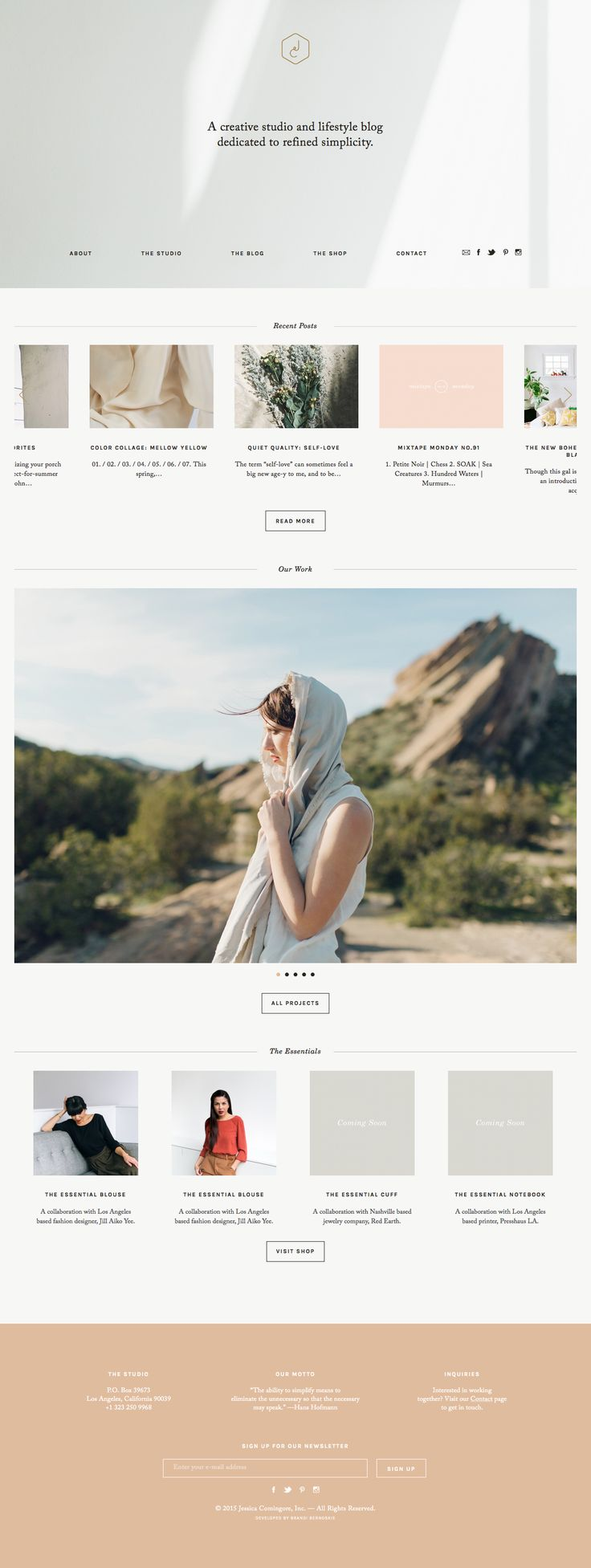 Custom website with extensive portfolio including custom features, shop built with Woocommerce, and blog with multiple layout options.