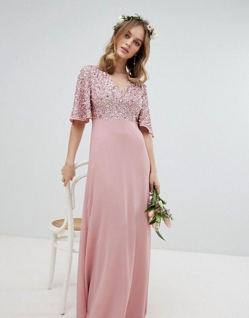 0d545080df68 Maya Petite | Maya Petite Sequin Top Maxi Bridesmaid Dress With Flutter Sleeve  Detail