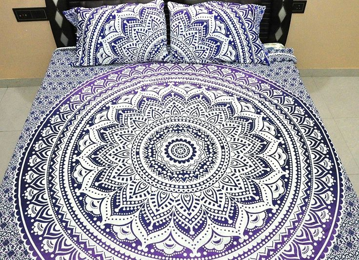 purple ombre mandala bedding set with pillow cases indian queen duvet cover