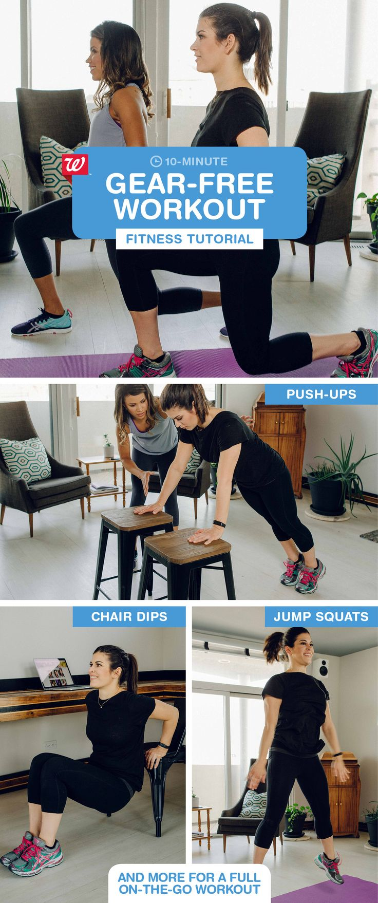 Don't have time to hit the gym? Repeat this workout twice for an effective 10-minute energy boost on the go. Add jump squats for some calorie-burning cardio: 1) In a wide stance, bend legs to a squat. 2) Push up into the air, using arms for momentum. 3) Bend back to squat position & repeat. Visit our blog for the full 10-minute workout and get the Walgreens Activity Tracker to earn Balance Rewards points as you stay active!