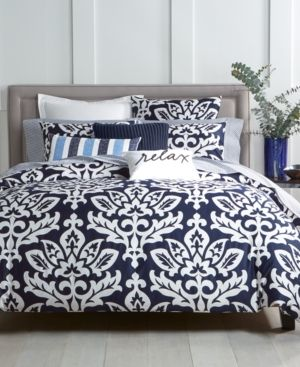 Charter Club Damask Designs Supima Cotton Navy 3-Pc. Full/Queen Duvet Set, Only at Macy's  - Blue