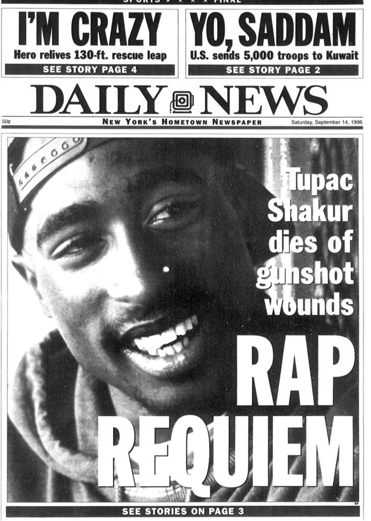 """On Sept. 7, 1996, Tupac was fatally shot in a drive-by shooting in Las Vegas, where he was attending a boxing match with Suge Knight. The rapper succumbed to his injuries six day later, and the front page of the Daily News on Sept. 14, 1996 read, Rap Requiem: Tupac Shakur dies of gunshot wounds."""""""