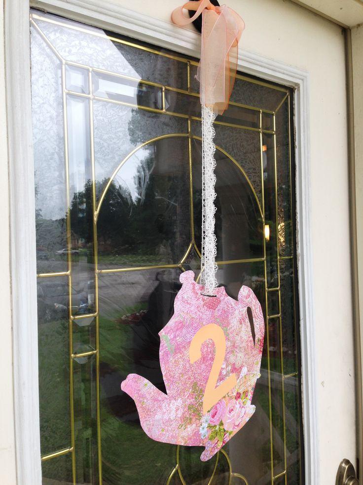 Front Door Hanger - Tea for Two Birthday Party