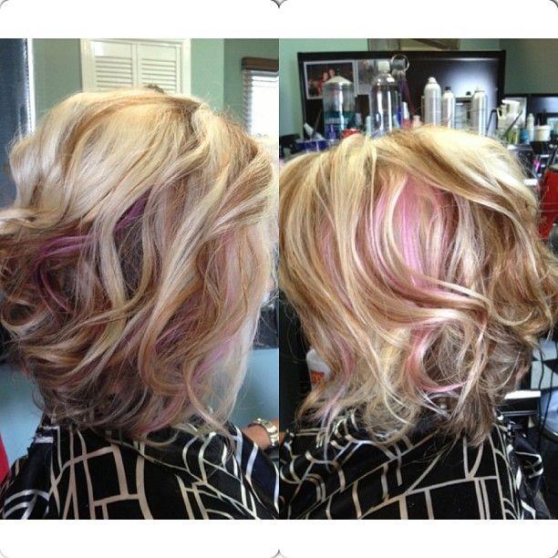 Platinum blonde hair with brown peekaboos