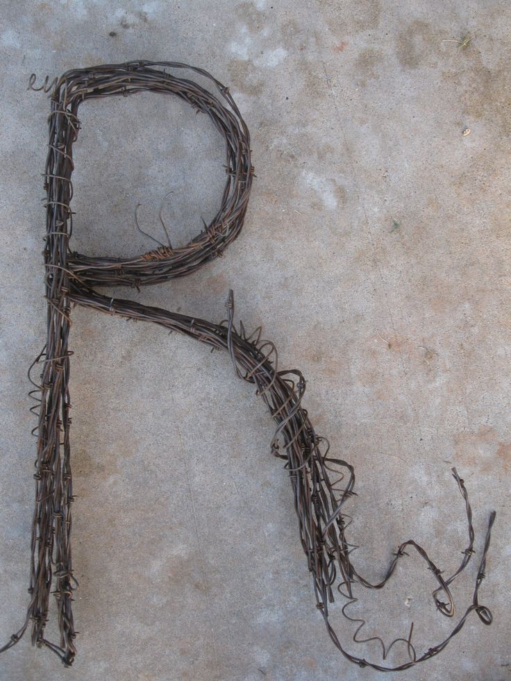 Barbed Wire Letter 'R' by TheCowboysCloset on Etsy https://www.