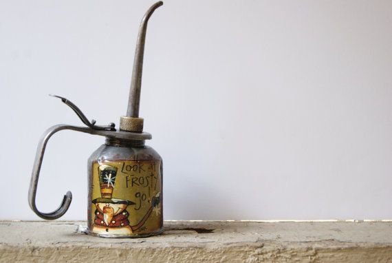 Snowman Oil Can Hand Painted Vintage Oil Can Rustic by Ramshackles