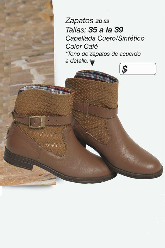 Hermosos botines en cuero y sintético Referenia: ZD52 Tallas: 35 a la 39 Color: Café Precio: $85.000