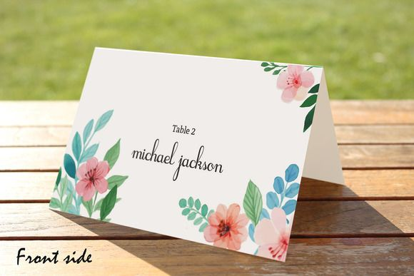 Floral Wedding Place Card Template @creativework247