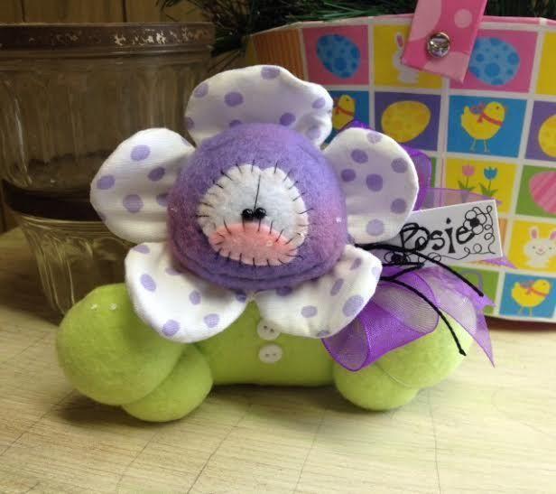 Primitive Raggedy HC Easter Spring Purple Posie Flower Doll Bunny Shelf Sitter  #IsntThatCute #SpringEaster