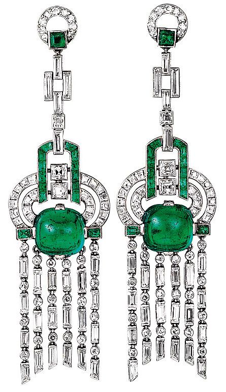 Earrings from the archives of Van Cleef & Arpels, emeralds and diamonds, 1923.