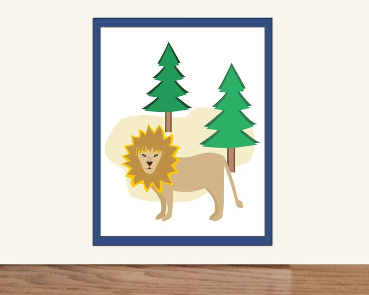 Jungle Art Print, Zoo Nursery, Kids Lion Illustration, Childrens Room Decor, Kids Room Art, For Home or Gift, Print and Download Instantly by LonnaJordanDesigns on Etsy