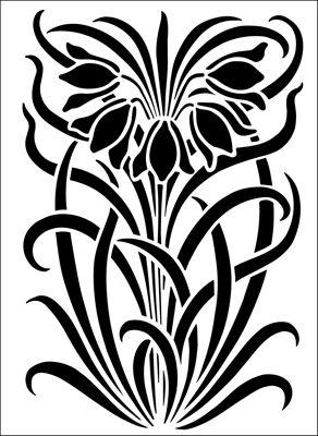 Motif No 53 stencil from The Stencil Library ART NOUVEAU range. Buy stencils online. Stencil code DE243.
