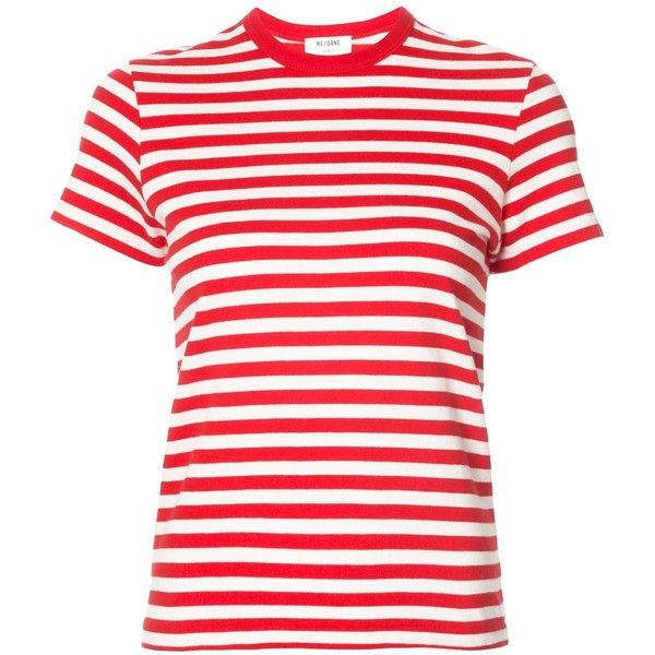 Re/Done Striped T-Shirt ($105) ❤ liked on Polyvore featuring tops, t-shirts, shirts, kirna zabete, kzloves /, stripe shop, short sleeve shirts, red striped t shirt, stripe shirt and red shirt