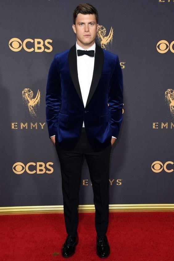 2018 Latest Coat Pant Designs Navy Blue Tweed Suit Slim Fit Formal Business  Men Jacket Tailored Suit Blazer Terno Masculino f223937aa0d8