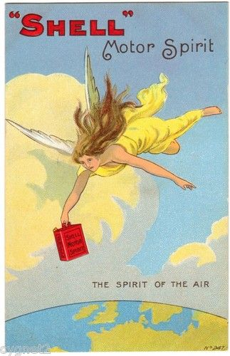 SHELL MOTOR OIL ADVERTISING ANGEL WITH OIL CAN