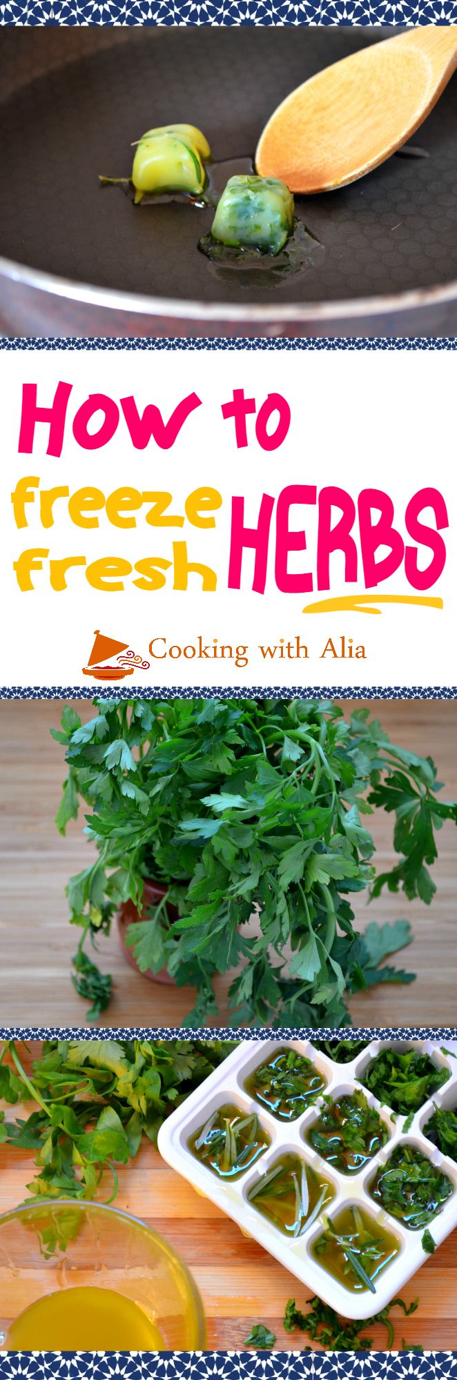 You have more herbs than what you need, but you don't want to throw them! This trick will allow you to save them and use them at anytime. Herbs and essential oils lovers - this easy trick is made especially for you! Finely chop the herbs (parsley and cilantro). Place in an ice tray. Add olive oil & freeze