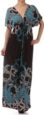 Paisley on Solid Black Graphic Print V-Neck Cap Sleeve Empire Waist Long / Maxi Dress REVIEW