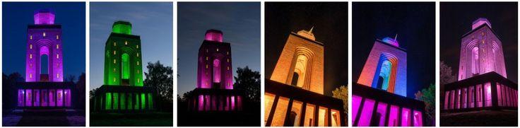 Der Bismarckturm bekommt Licht #led #design #licht #farben #lila #gruen #gelb #weihnachten