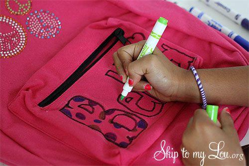 DIY Decorated Backpack tutorial! www.skiptomylou.org #backtoschool