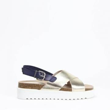 KMB W395 Cross Strap Platform Sandal Platino Leather