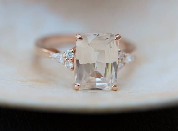 Engagement Ring Rose gold engagement ring Champagne Sapphire