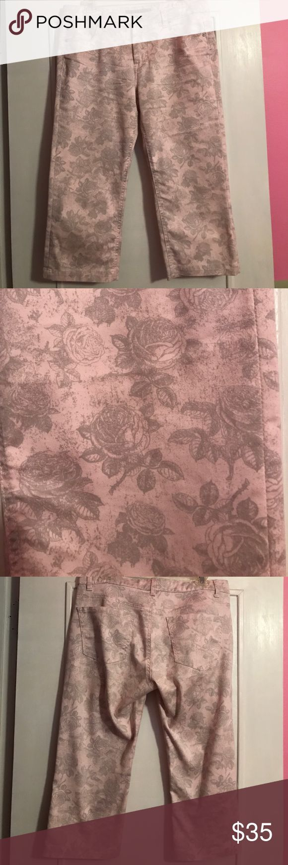 """Soft Pink Floral Printed Capris Excellent used condition, Liverpool Jeans Company pink and gray printed Floral Capris. Size 12. Printed """"Hello Goodbye"""" lyrics inside pocket. Liverpool Jeans Company Jeans Ankle & Cropped"""