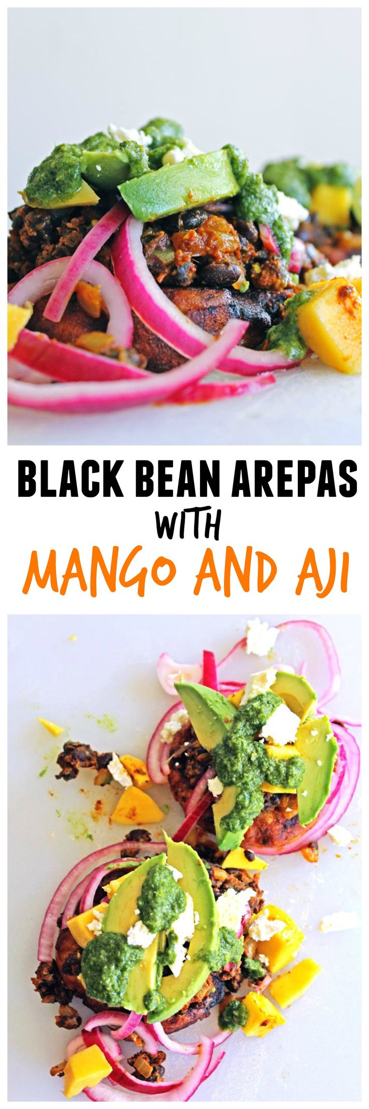 sub plant based cheese....  Black bean arepas with mango and aji from Global Feasts: Colombia!