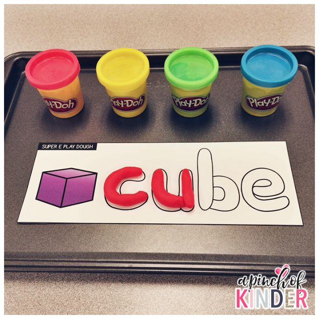 A Pinch of Kinder: Super E! {Activities for CVCe Words} - Super E Play Dough