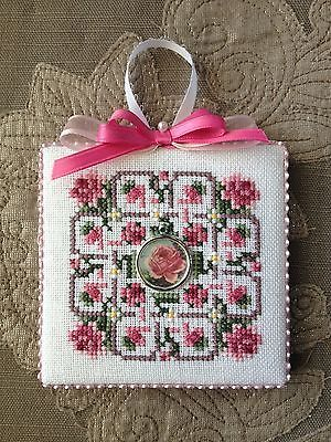 Finished-Completed-Cross-Stitch-Ornament-Just-Nan-Garden-Maze-with-Visions-Charm