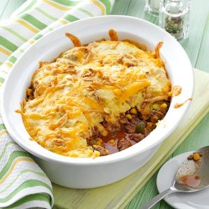 Corn Bread Taco Bake... It's like a Mexican shepherd's pie. I use ground turkey and homemade taco seasoning for the filling, along with frozen corn and a can of drained black beans. Top it will an easy homemade cornbread batter and forget the french-fried onions to make it quick, healthy, and delicious.