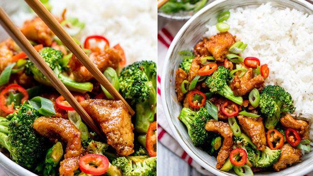 Kuřecí kousky s chilli a brokolicí