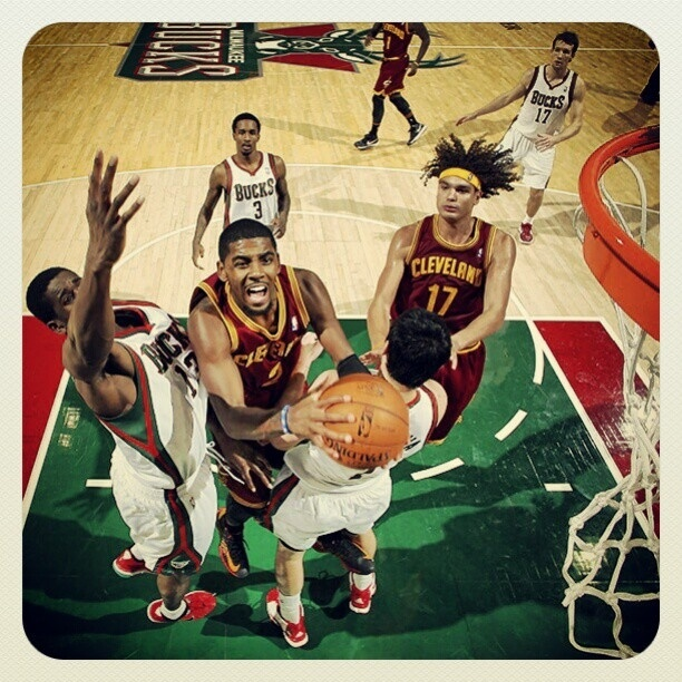 Check out our Photo Of the Game from November 3, 2012: Guard Kyrie Irving drives to the basket against the Milwaukee Bucks at the BMO Harris Bradley Center in Milwaukee, Wisconsin. Photo courtesy of Gary Dineen / NBAE via Getty Images. Check out more photos from the game: http://www.nba.com/cavaliers/photogallery/121103-clemil