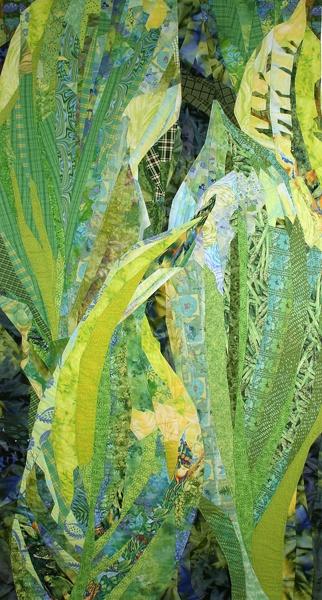 """Summer Hostas by Margo Fiddes, 2006  36"""" X 72"""": Hosta Art, Fiddes Summe Hostas Thy, Hostas Margo Fiddes, Amazing Summer, Collage Flower Art Quilt, Summer Hosta, Quilt Textiles, Margo Fiddes Summe, Gorgeous Leaf"""