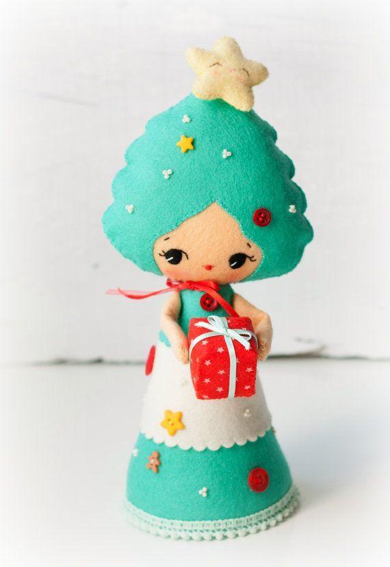PDF.  Рождественская елка кукла.  Рождество орнамент.  Плюшевые Кукла шаблон…