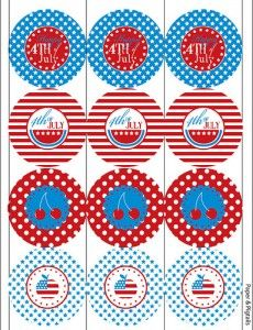 4th of July Printable4Thofjuly, Cupcakes Toppers, July Printables, 4Th Of July, 4Th July, July 4Th, Red White, Parties Printables, Free Printables