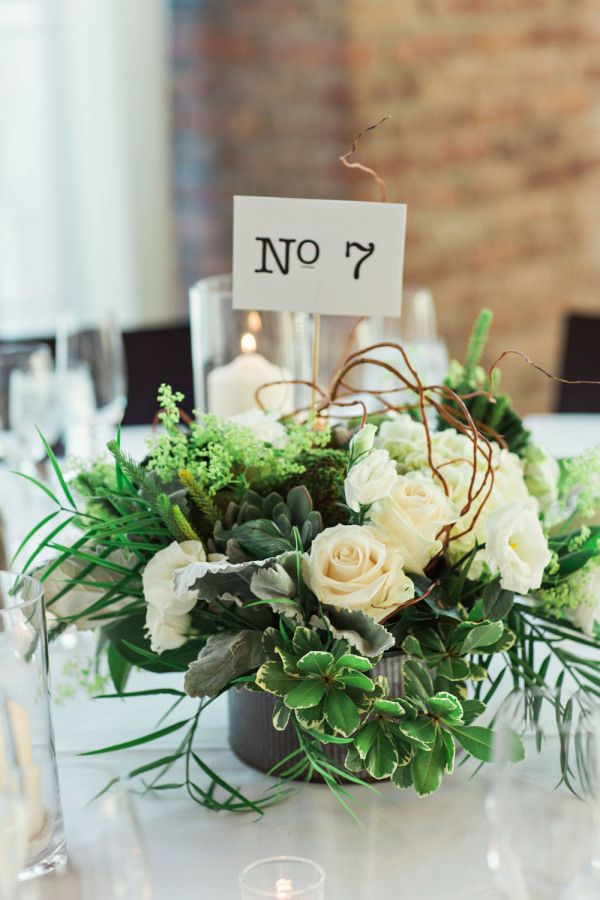 Rustic wedding centerpiece: http://www.stylemepretty.com/new-york-weddings/beacon-new-york/2015/11/16/industrial-meets-rustic-chic-wedding/ | Photography: Clean Plate Pictures - http://www.cleanplatepictures.com/