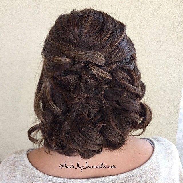 Half Up Wedding Style For Medium Length Or Short Hair Hair Length Medium Short Style Wedding Short Wedding Hair Medium Hair Styles Short Hair Styles