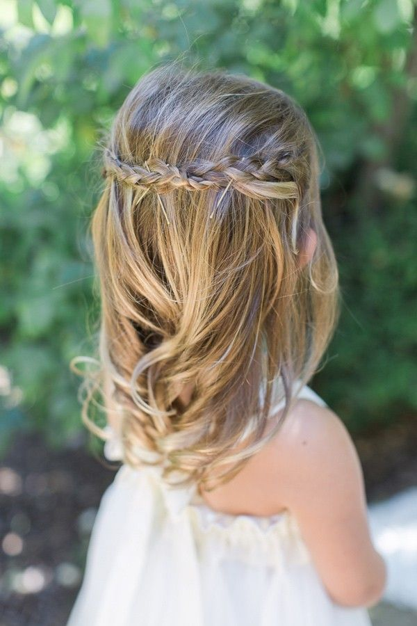 Flower girl hair with pinned up braids. Stylist: Marcy Harmon. - photo by…