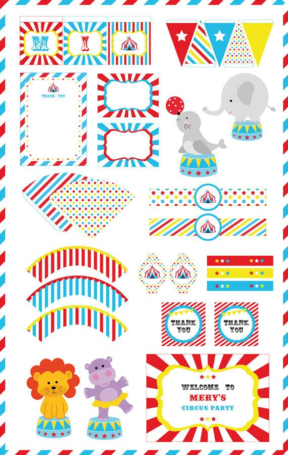 INSTANT DOWNLOAD Circus Carnival Party Pack by PaperPartyDesign