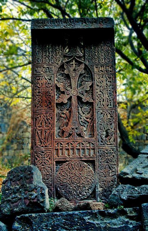 Khachkar. One of the beautiful ancient stone carvings in Noratus, Armenia.