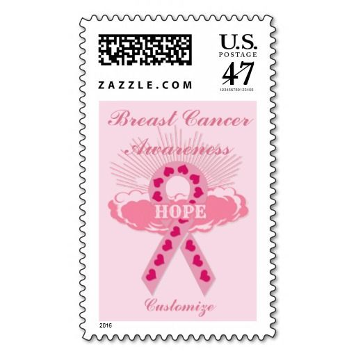 Personalized Pink Ribbon Of Hope Pink Stamp