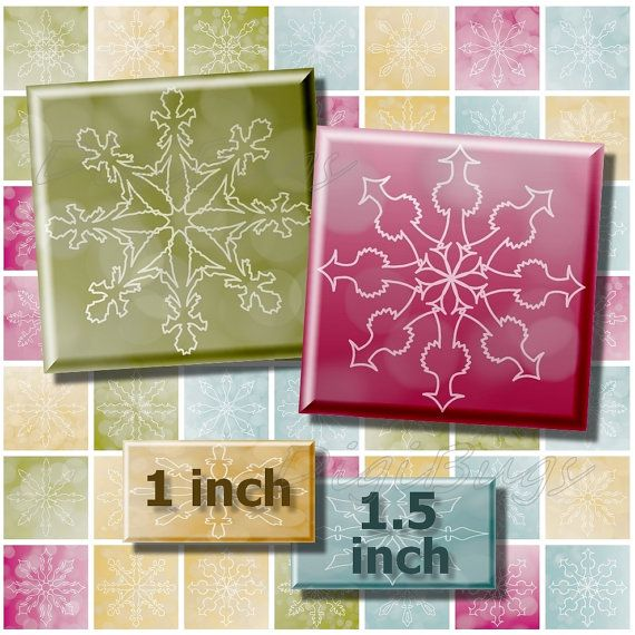 Digital Snowflake Images, 1 inch & 1.5 inch Squares by DigiBugs